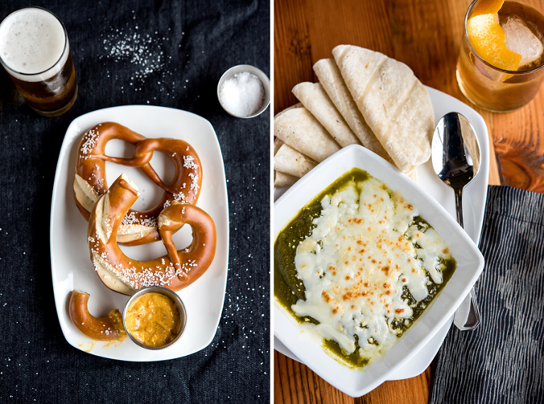 left: soft german pretzel with mam lil's pepper mustard. right: queso fundido with green chile tomatillo sauce, mexican cheese, warm corn tortillas