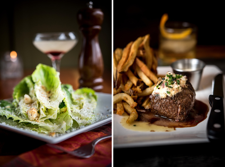 left: classic caesar with olive croutons, parmesan. right: steak frites with marrow butter, caramel peppercorn demi-glace, garlic aioli