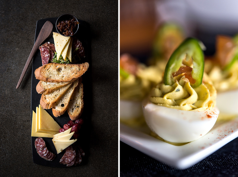 left: ploughman's plate- local charcuterie, artisan cheeses, seasonal pickles, crusty bread.  right: deviled eggs- green goddess, serrano, pickled onion