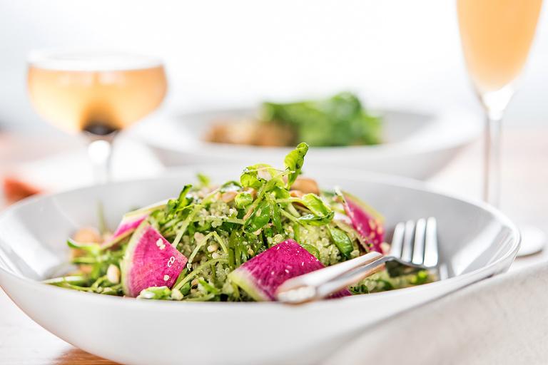 quinoa salad- quinoa, pea shoots, cilantro chutney, cashews, watermelon radish