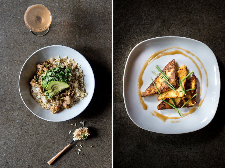 left: havana bowl- braised chicken thigh, rice, beans, avocado.  right: cheddar bacon polenta- pan fried polenta, cheddar, bacon, maple bourbon buerre blanc